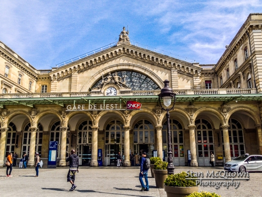 Exterior of Gare de l'Est. Nord means North and Est means East, the direction these two trains head from their stations!