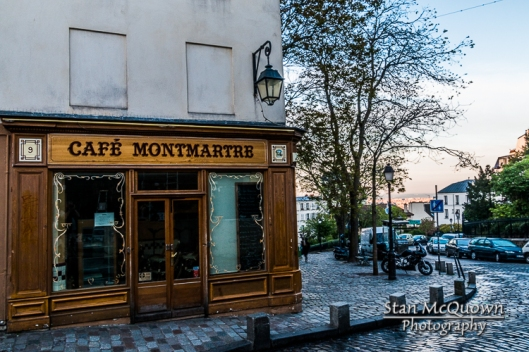 Cafe Montmartre still in the shadows as the sunlight starts to hit Paris!