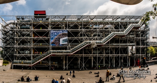 When the Centre Georges Pompidou was completed in 1977 initially, all of the functional structural elements of the building were colour-coded: green pipes are plumbing, blue ducts are for climate control, electrical wires are encased in yellow, and circulation elements and devices for safety (e.g., fire extinguishers) are red. However, recent visits suggest that this color-coding has partially lapsed, and many of the elements are simply painted white.