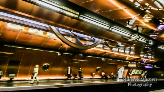 High tech art lines the ceiling of the Arts et Metiers Metro! #1