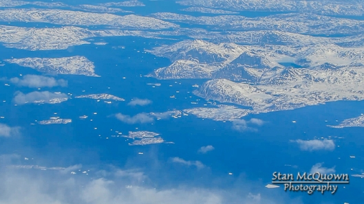Hello Greenland's West Coast, too cloudy until now to see any land mass!